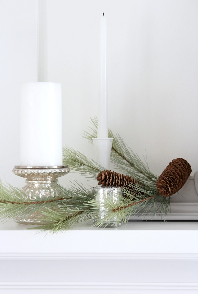 Christmas Mantel Ideas - Faux Greenery with Mercury Glass Candle Holders