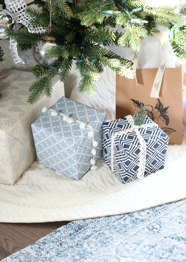 Christmas Gift Wrapping Ideas - Blue and White Wrapping Paper