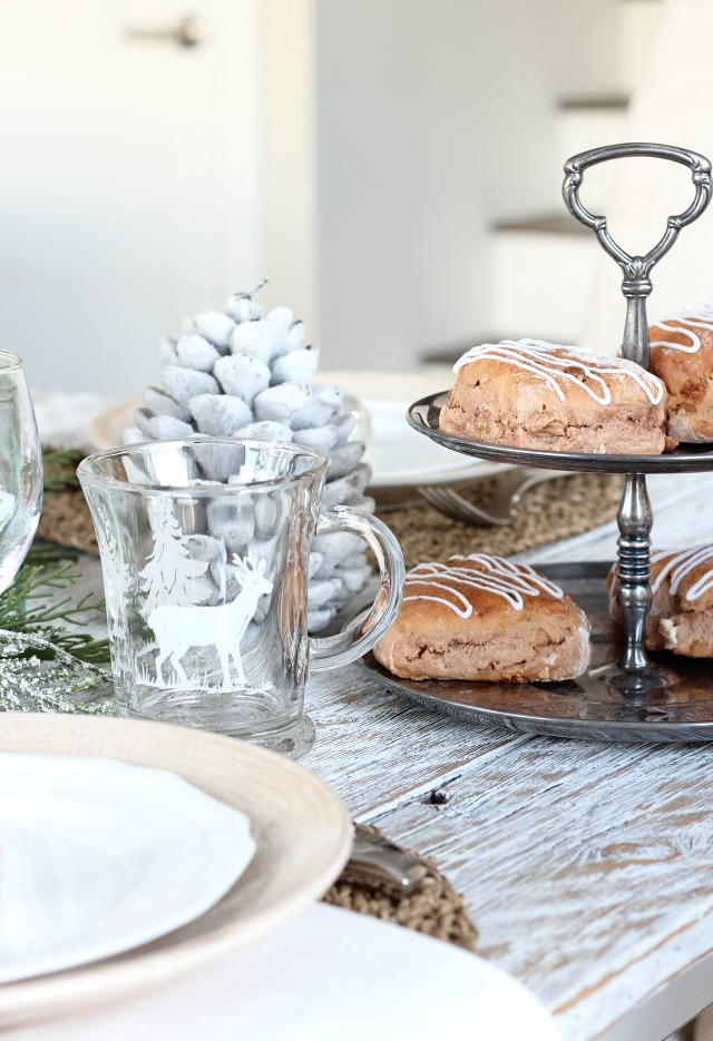 Christmas Decor - Antique Silver Tiered Cake Stand with Gingerbread Scones
