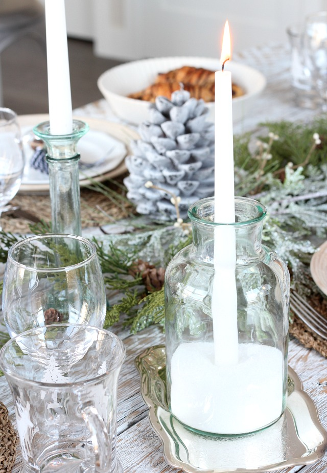 Christmas Decorating Ideas - Come see how to put together these glass and snow candle holders!