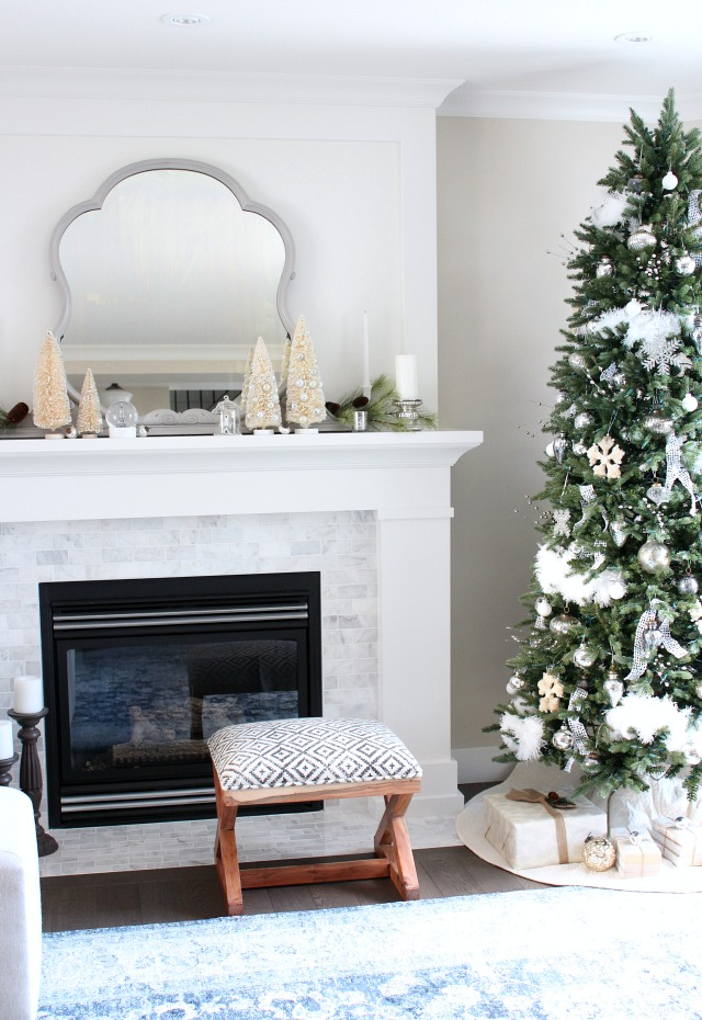 Christmas Home Tour - Blue and White Living Room with Neutral Christmas Decor