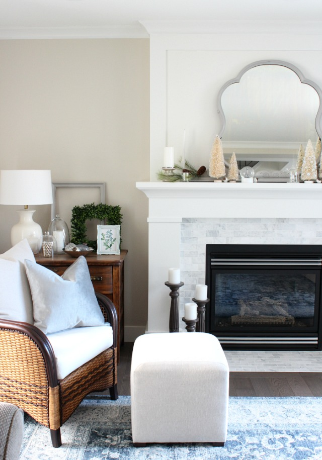 Christmas Home Tour - White and Marble Fireplace Decorated for the Holidays with Bottle Brush Trees and Antique Grey Mirror