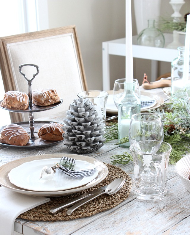 Christmas Morning Table Setting Decorated with Winter Decor - Modern Farmhouse Christmas Decorations