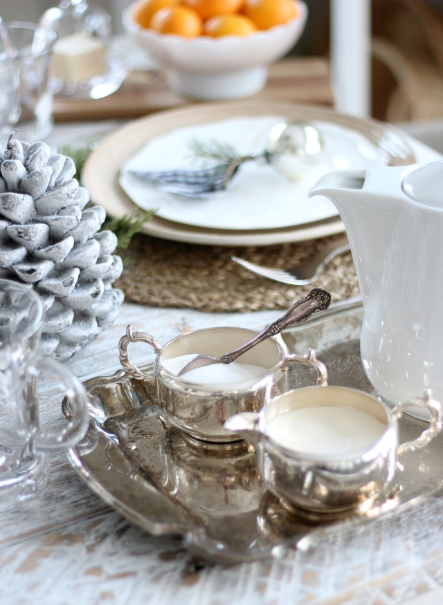 Christmas Table Setting with Antique Silver Serving Pieces - Vintage Christmas Decor
