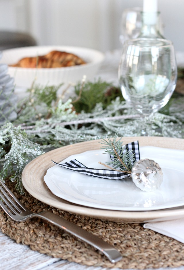 Christmas Table Setting - Mercury Glass and Ribbon Table Favor or Placecard Holder