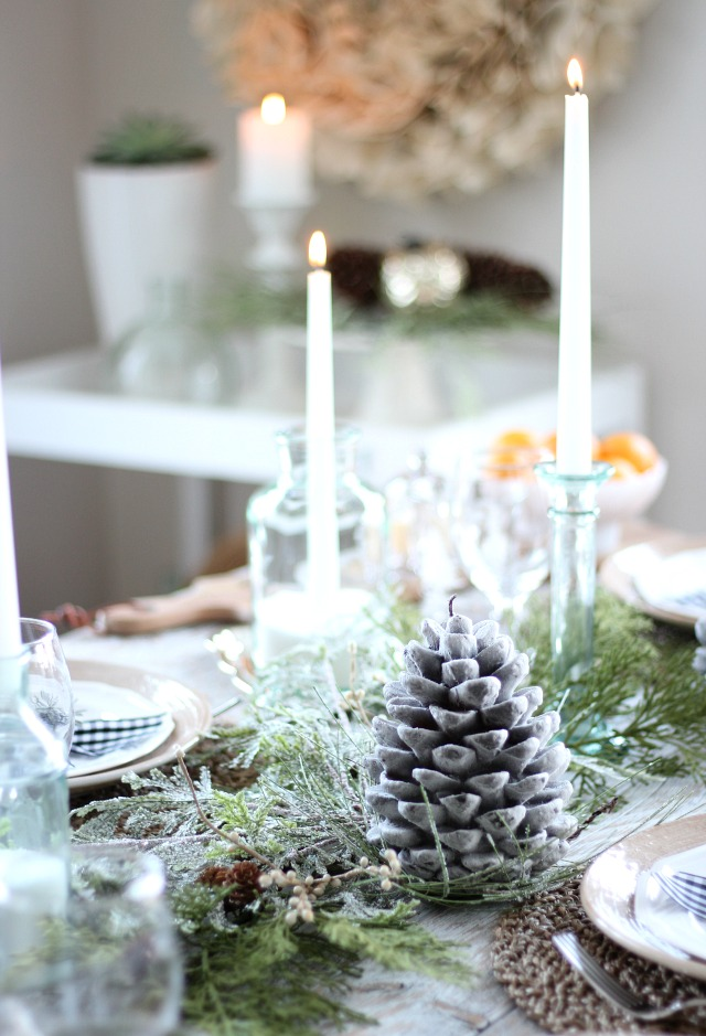 Holiday Decorating Ideas - White Christmas Tablescape with Thrifted Green Glass and Snow Candle Holders
