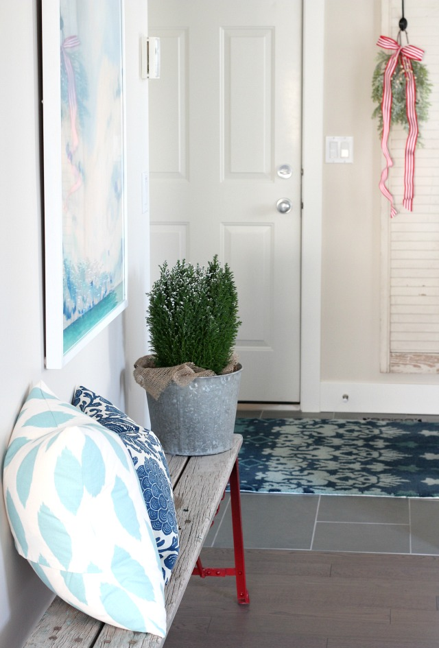 Christmas Home Tour - Entryway Rustic Bench with Touches of Vintage Decor