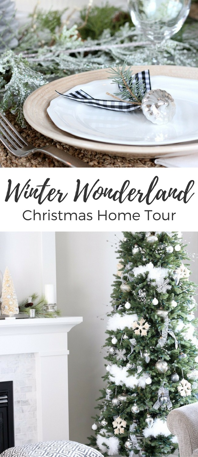 Love these white Christmas decorating ideas. The whole Christmas home tour is so pretty with the vintage touches and natural decor!