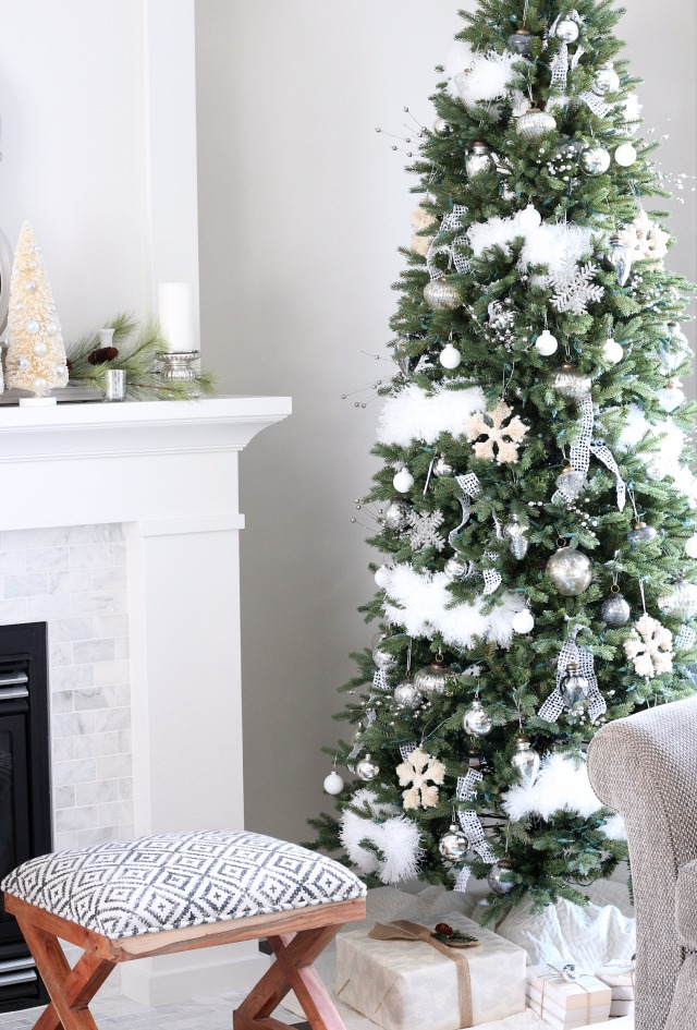 Winter Wonderland Christmas Tree - White and Silver Tree Decor - Christmas Tree for Small Space