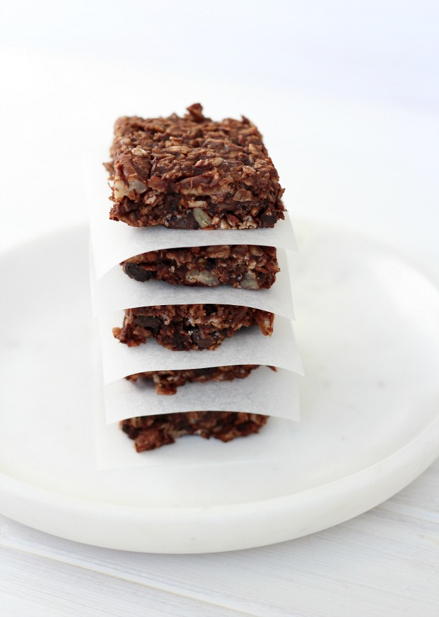 Chocolate Recipes Worth the Splurge - Chocolate Oat Breakfast Bars with Coconuts and Nuts - Satori Design for Living