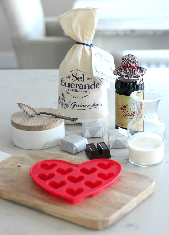Valentine's Day Chocolate Truffle Hearts with Sea Salt