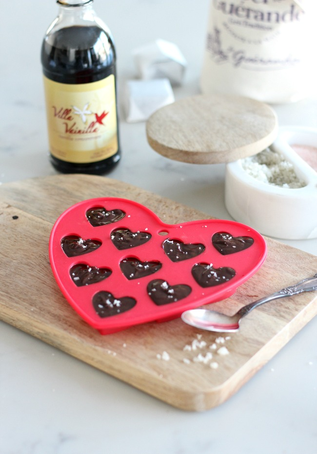 Chocolate Truffle Valentine Hearts with Fleur de Sel - Surprise your loved ones with these delicious handmade dark chocolate truffles!