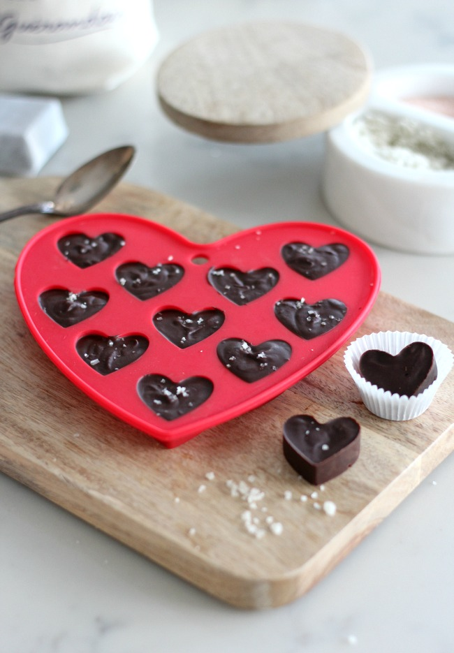 Homemade Valentines Chocolate - Truffle Hearts with Sea Salt for Valentine's Day
