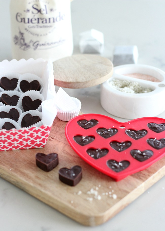 Valentine's Day Gift Idea - Chocolate Truffle Hearts with Sea Salt - Share with your family or package up and give away!