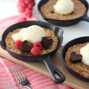 Show your love this Valentine's Day by making these delicious oatmeal chocolate chunk skillet cookies with heart-shaped truffles.
