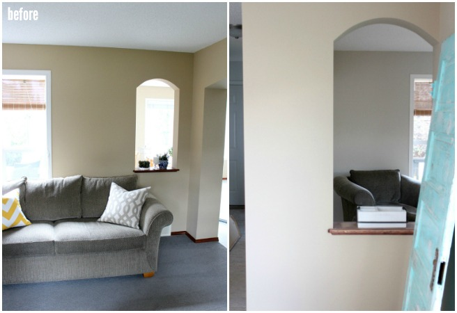 Living Room BEFORE - Closing up an arched pass-through from the living room to dining room - Satori Design for Living