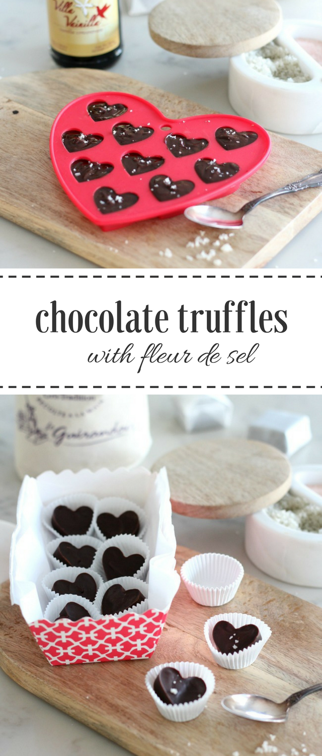Make these decadent chocolate truffle hearts with sea salt to share with family and friends. Spread the love!