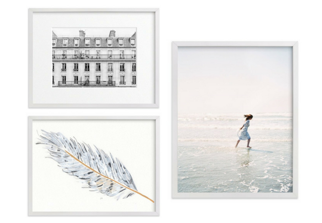 Living Room Art Gallery Wall - Hanging a Collection of White Framed Prints from Minted
