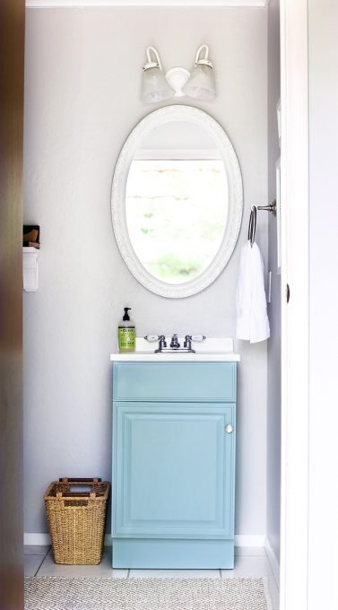Behr Clear Pond Bathroom Vanity - Just a Girl and Her Blog - Top Paint Color Picks