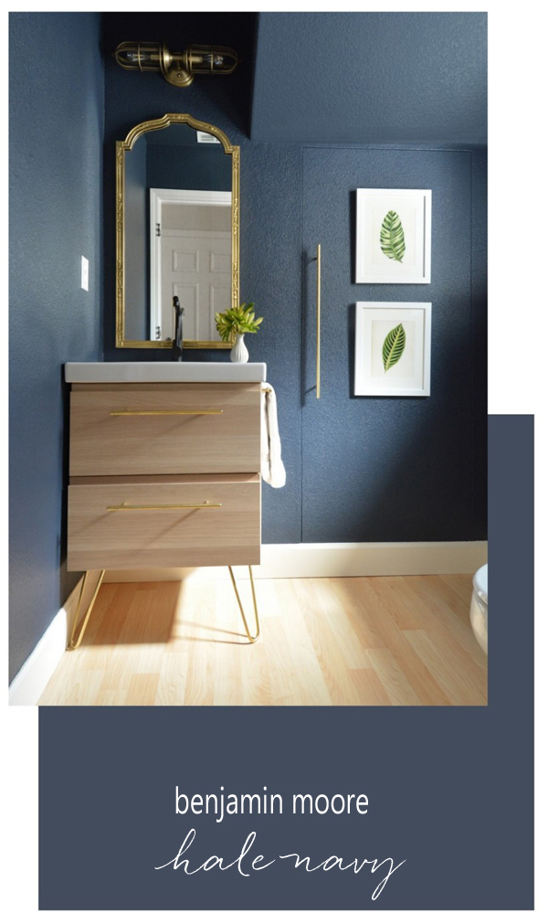Benjamin Moore Hale Navy Powder Room - Centsational Girl - Top Paint Color Picks