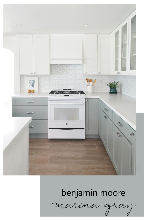 Benjamin Moore Marina Gray Kitchen Cabinets - Centsational Girl - Top Paint Color Picks