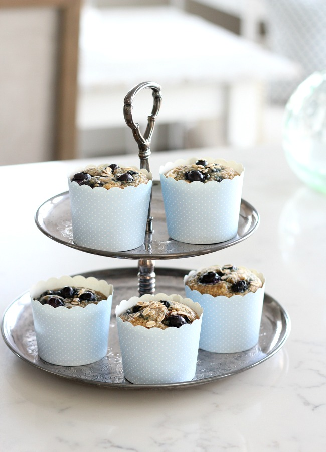 Spring Kitchen Tour - Homemade Gluten-free Blueberry Oat Muffins on Silver Cakestand