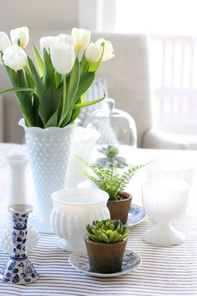 Decorating the Table for Spring with Milkglass and Greenery