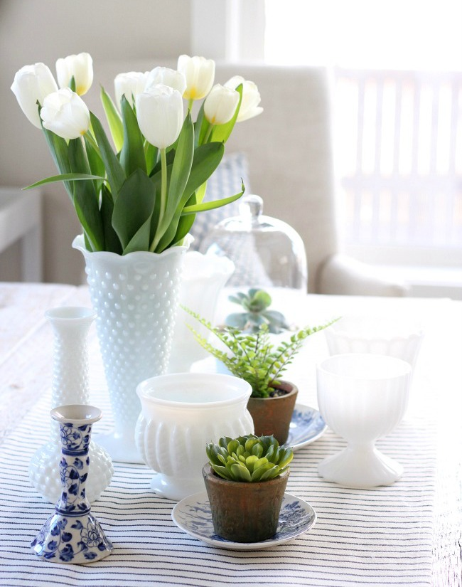 Decorating the Table for Spring with Milkglass and Greenery - White Tulips in Hobnail Milkglass Vase