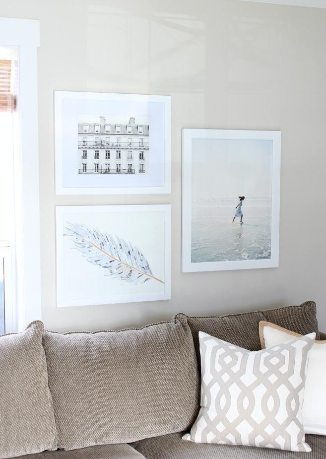 Hanging Art in the Living Room - A Collection of Minted Prints Framed in White Over the Sofa