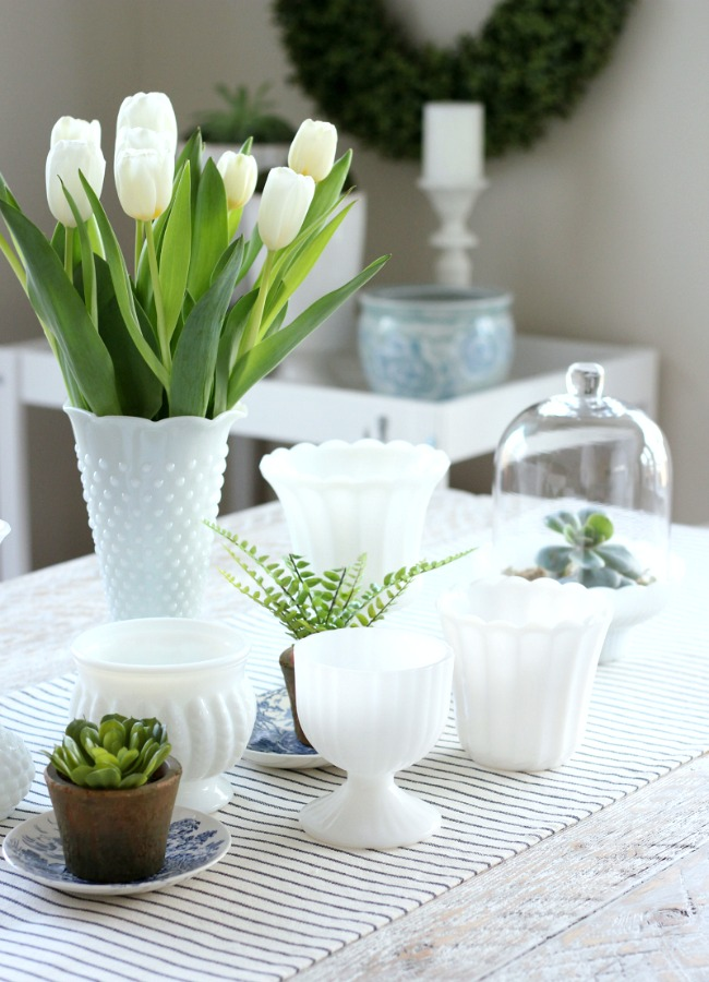 Decorating the Kitchen for Spring Using Milkglass, Tulips and Greenery