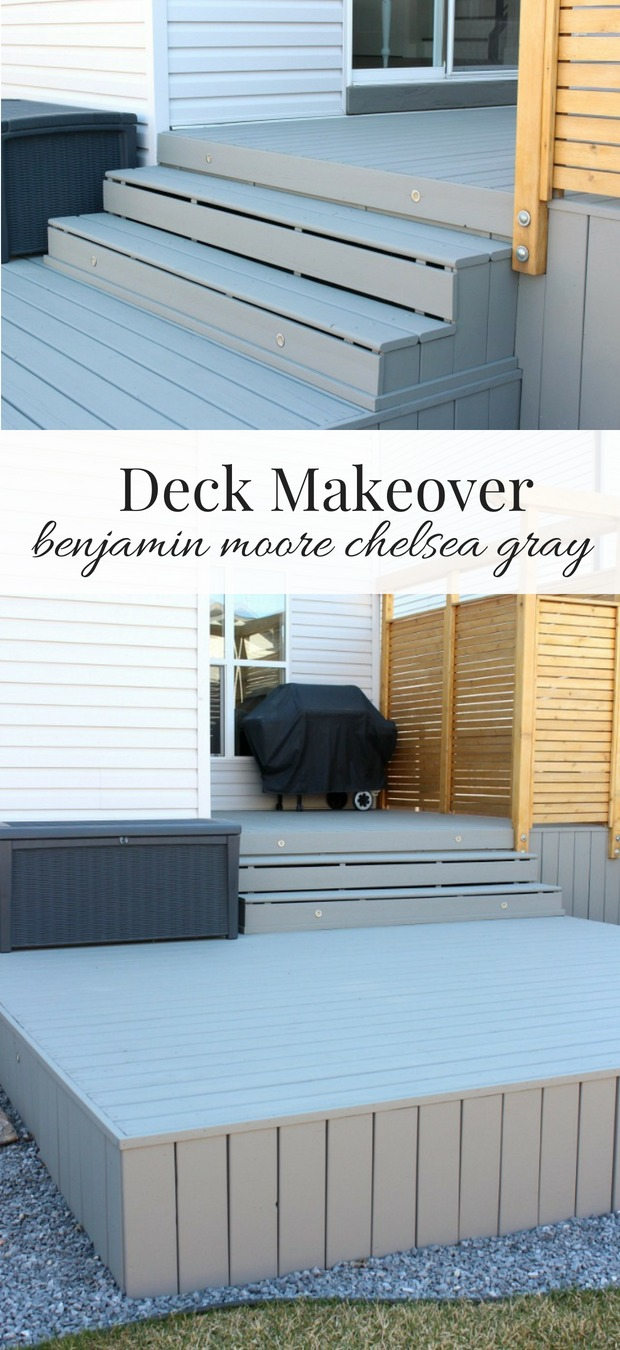 Our deck makeover is underway, and we're loving the look of the new Chelsea Gray stain by Benjamin Moore.