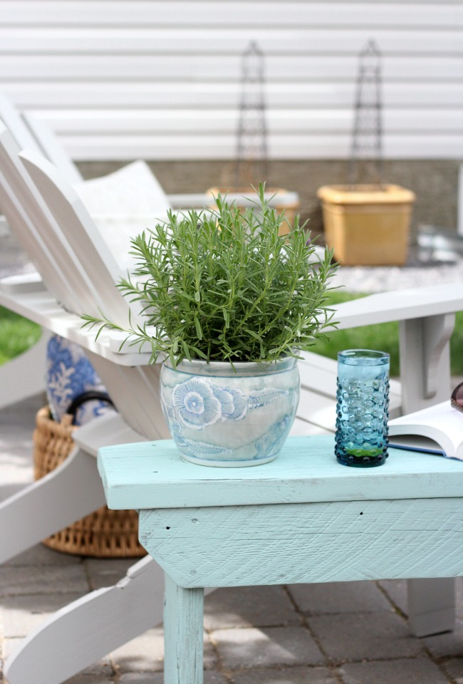 Aqua Blue Distressed Wood Outdoor Bench or Side Table