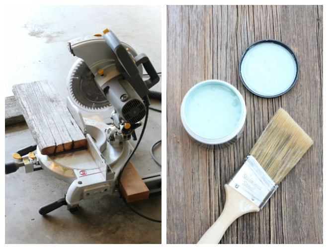 DIY Distressed Wood Side Table -Behr Opal Silk Aqua Blue Paint Color