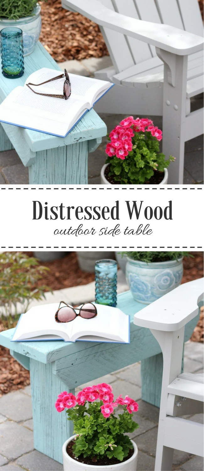 Could you use a handy outdoor side table or little bench? Come check out the one we built using salvaged wood and pretty aqua blue paint.