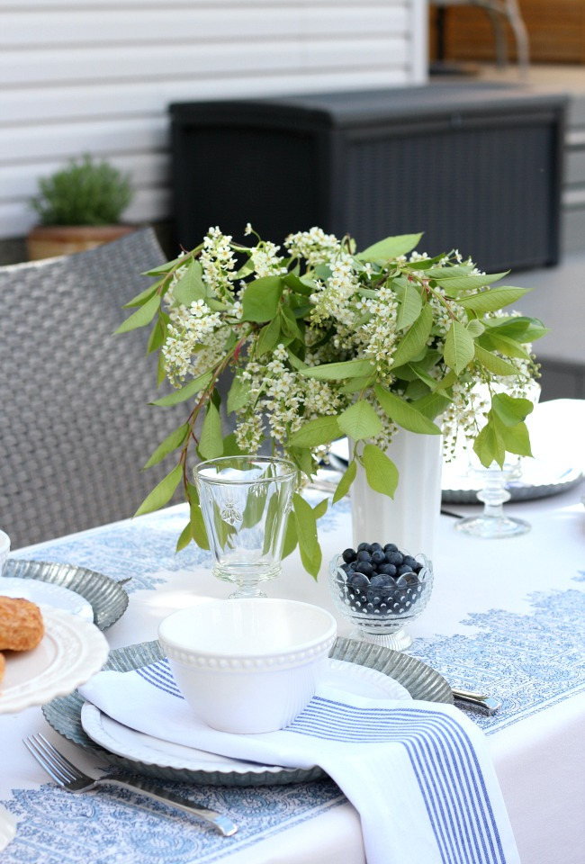 Casual Outdoor Table Centerpiece - Milkglass Vase and Blossom Tree Centerpiece