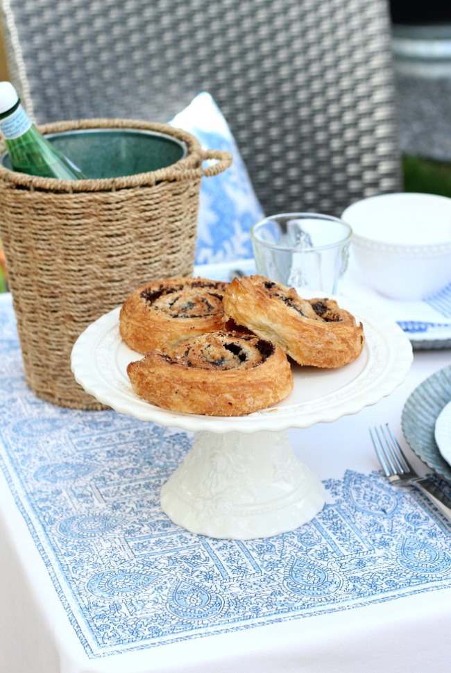 Summer Outdoor Brunch Ideas - White Cakestand for Serving Pastries and Baked Goods