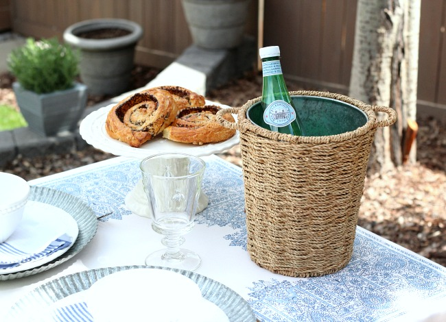 Outdoor Brunch Ideas - Use a Small Planter for an Ice Bucket