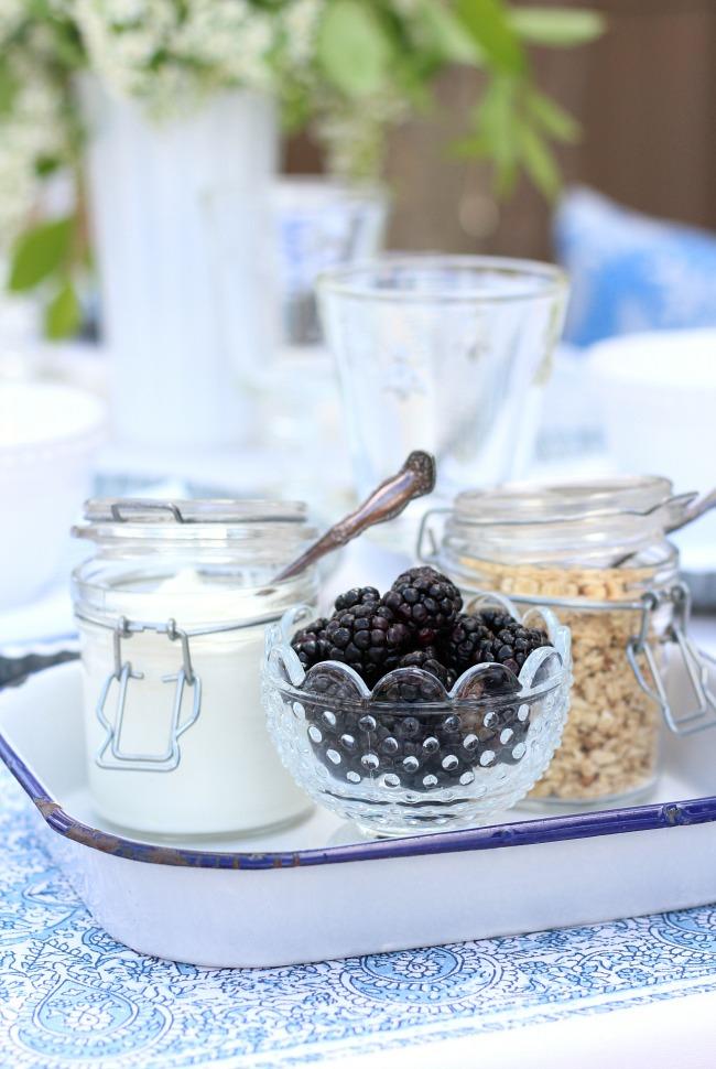Outdoor Summer Brunch Ideas - Yogurt, Berries and Granola on a Vintage Enamelware Tray