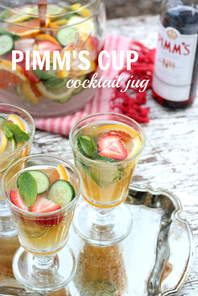 Make this Pimm's cocktail jug for your next outdoor spring or summer party. Fresh, delicious and super easy to put together!