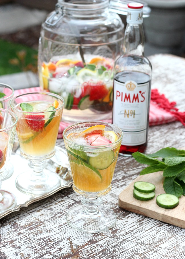 Large Jug of Pimm's with Pretty Bee Glasses