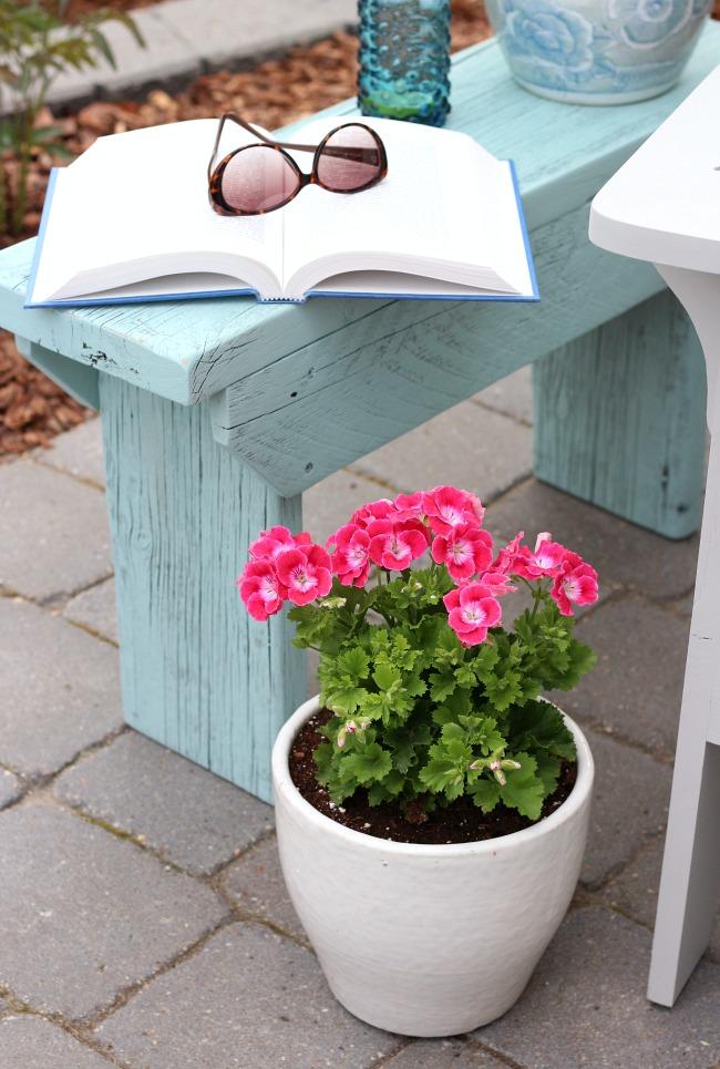 Outdoor Decorating Ideas - Pink Martha Washington Geranium - Aqua Blue Outdoor Side Table