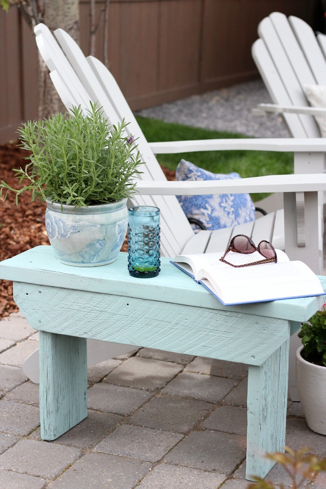 Salvaged Wood Outdoor Bench - Aqua Blue Outdoor Side Table - Grey Adirondack Chairs