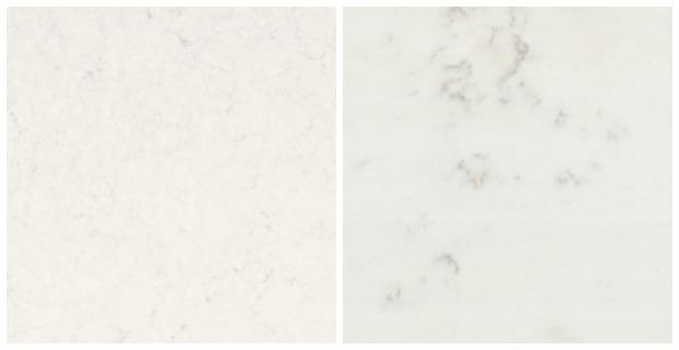 Classic White Kitchen Renovation Finishes - Marble Quartz Countertop Options - Frosty Carrina vs. TCE Stone 4005