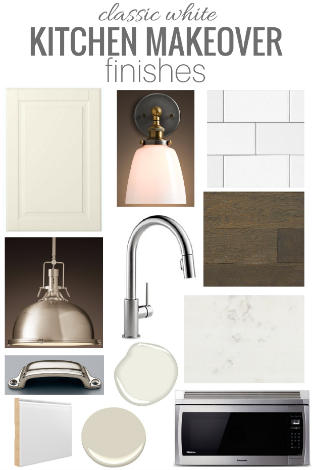 Check out these beautiful classic white kitchen renovation finishes, including flooring, lighting, cabinets, hardware and more. Such a beautiful collection to make a basic IKEA kitchen look custom!