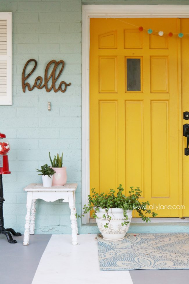 Mustard Yellow Front Door Paint Color - Colorful Front Porch Decor by Lolly Jane