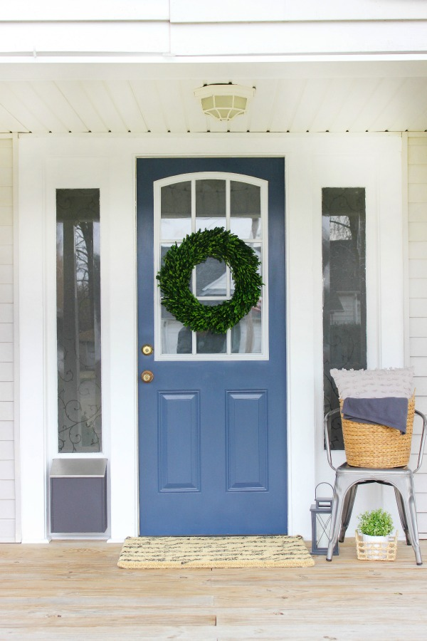 New Front Door Paint Color - Front Porch Makeover with DecoArt Nantucket Grey Door by The Casual Craftlete