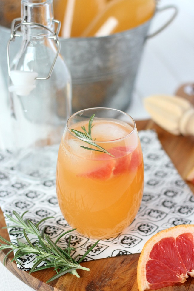 Fresh Herb Summer Cocktail Recipes - Rosemary-Infused Fresh Grapefruit Spritzer by Satori Design for Living