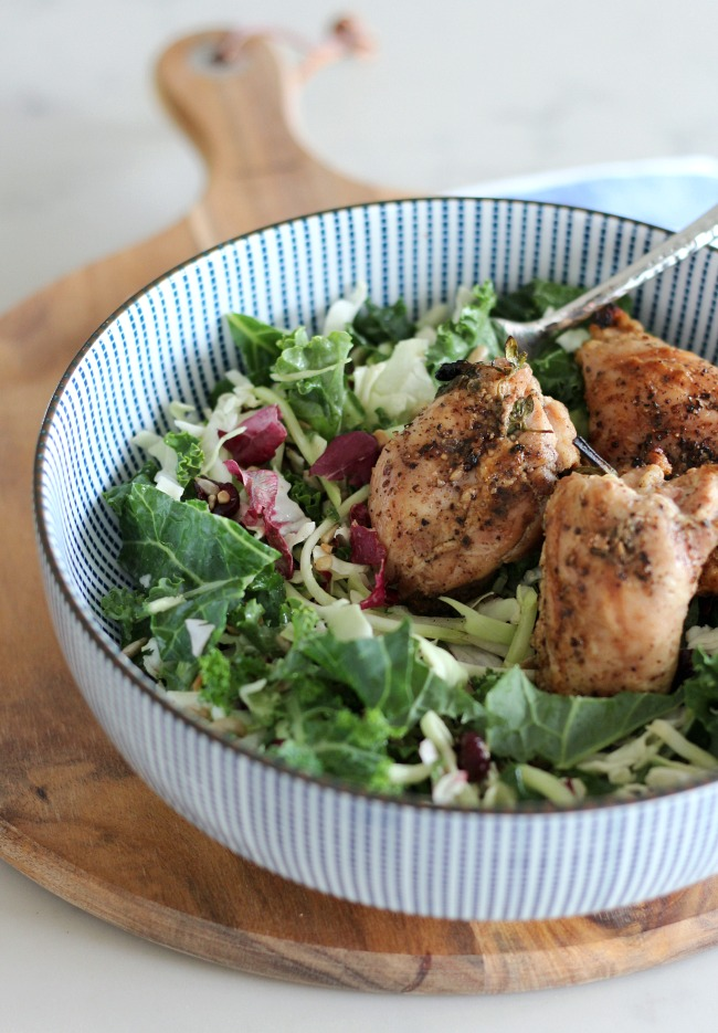 Make this sunflower kale salad with herb infused chicken. A quick and easy weeknight meal the entire family will enjoy!