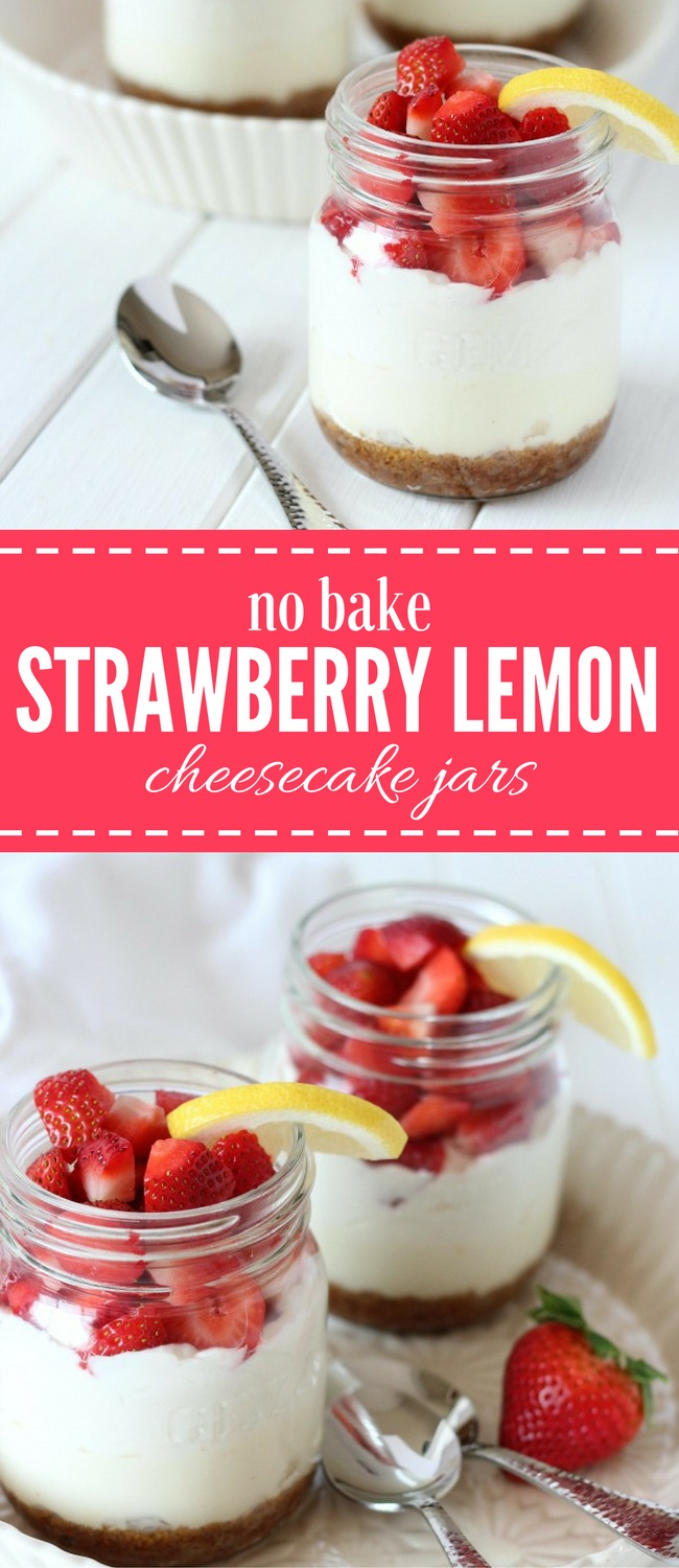 These no-bake strawberry lemon cheesecake jars are an easy and totally scrumptious dessert. Whip up a batch for your next family get-together or dinner party. Yum!