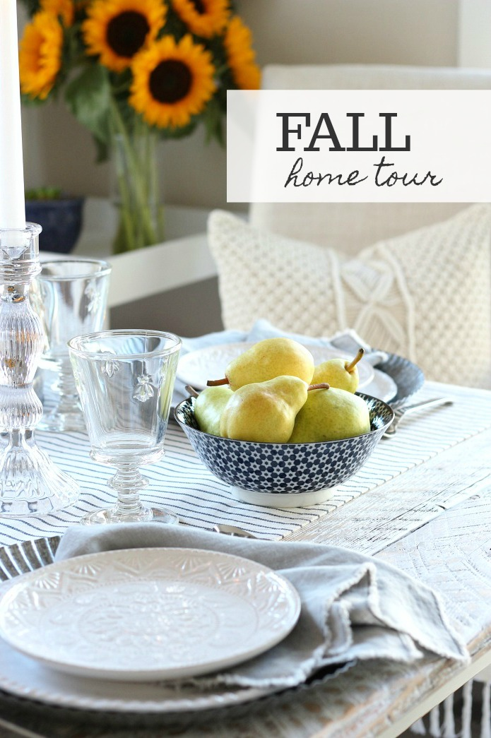 Fall Home Tour - Get inspired as Canadian home bloggers share their best fall decorating ideas, including our kitchen tour and tips for setting a french farmhouse style table.